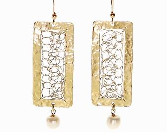 Rectangular Gold earrings with Freshwater Pearls, Crochet earrings, Rectangular earrings, Dangly earrings, Pearl earrings, Modern earrings