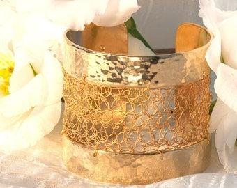 Gold cuff, gold jewelry, crochet jewelry, Crocheted gold cuff, statement cuff, hammered jewelry, texture
