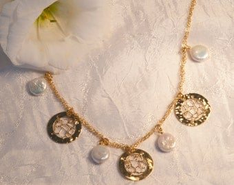 Three crocheted circle romantic necklace with coin flat pearls