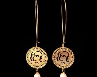 Zodiac Gemini earrings, Gold earrings, Long earrings, Birthstone Pearl earrings, Zodiac jewelry, Zodiac Symbols, Star Sign Jewelry