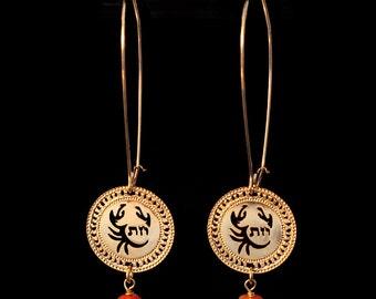 Zodiac Cancer earrings, Gold earrings, Long earrings, Birthstone earrings, Carnelian jewelry, Zodiac jewelry, Kabbalha jewelry, Star sign