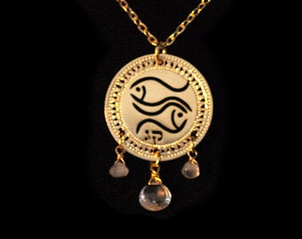 Zodiac Pisces necklace, Gold necklace, Birthstone jewelry, Aquamarine necklace, Gold 8, Zodiac jewelry, Astrology Jewelry, Kabbalah jewelry