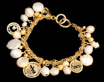 Kabbalah Charm bracelet, Rose Gold jewelry, Kabbalah jewelry, Bridal bracelet, Jewish jewelry, Religious jewelry, Gold Jewelry, Pearl