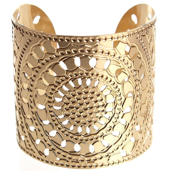 Gold Statement cuff, Wide Gold cuff, Gold bracelet, Dot jewelry, Statement cuff, Moroccan jewelry, Hammered Gold bracelet, Modern jewelry