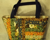 Super SALE quilted book bag or tote or purse  multi blue demin and floral   wrap around pockets large