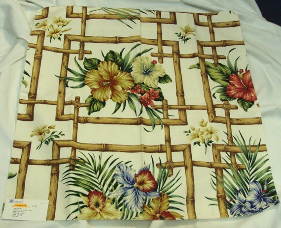 Asian Bamboo  Kravet fabric sample   with floral design 24 x24 inches