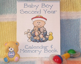 Second Year Baby Calendar and Memory Book for BOY