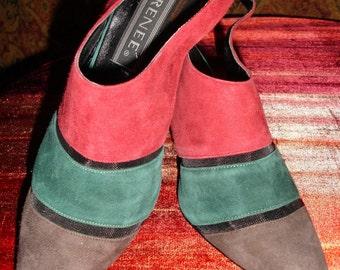 Vintage chocolate\/hunter\/berry suede sling back shoe