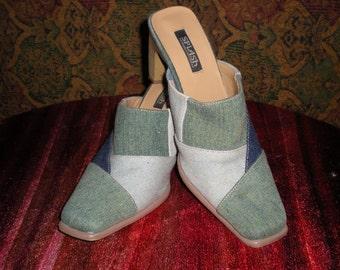 Vintage patchwork denim mule shoe