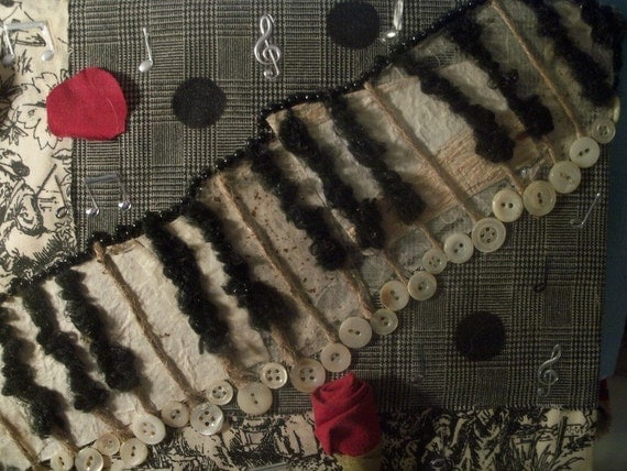 Piano Key Board Fiber Art Mixed Media TREASURY PICK
