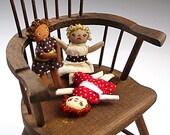 Grumpy Rag Dolls Kit Tiny Trio of Dollhouse Miniature Size Primitive Doll Set