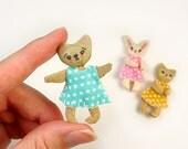 Cute Animal Dolls Kit Tiny Trio of Dollhouse Miniature Size Kawaii Doll Set