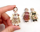 Antique Style Dolls Kit Tiny Trio of Dollhouse Miniature Size Izannah Walker Cloth Doll Inspired