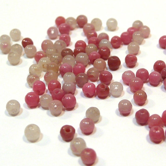 Natural Pink Rhodonite 100 2mm Rounds Beads