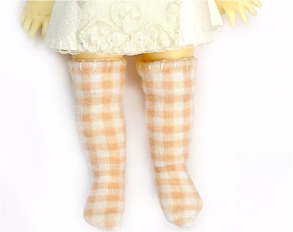 Lati Yellow Pukifee Doll Socks for Tiny BJD or Blythe Peach Gingham Check