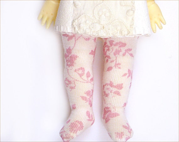 Lati Yellow Pukifee Doll Socks for Tiny BJD or Blythe Soft Pink Flowers