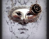 MASQUERADE BALL antique silver Victorian theater mask necklace with 3D brass flower