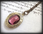 TRUE VIOLET, vintage glass jeweled locket long necklace in antique brass