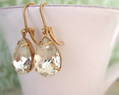 VINTAGE SPARKLE, estate style earrings in brass with vintage pear drop jewels