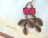 ENCHANTED FOREST, vintage leaf branch earrings with vintage Fuchsia Swarovski jewels