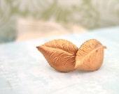 TINY LEAVES. petite vintage brass leaf stud earrings (few pairs left)