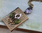 CALLA LILY, vintage enamel brass charm book style locket necklace with tanzanite glass jewel