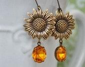 womens earrings THE SUNFLOWER EARRINGS antique brass earrings with  vintage Swarovski Topaz color glass jewels