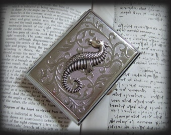Vintage Style Metal Case for Accessories. Seahorse business card case