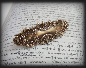 VICTORIAN BARRETTE in antique brass