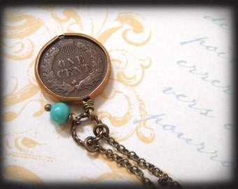 MY LUCKY PENNY, Indian head one cent coin necklace