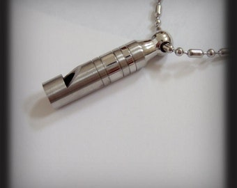 FOR EMERGENCIES ONLY, stainless steel whistle necklace