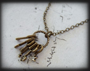 TINY KEYS, antique brass tiny keys pendant