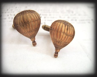 TRAVEL THE WORLD, hot air balloon cufflinks in antique brass
