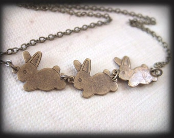 Tale OF Peter Rabbit, antiqued brass bunny necklace