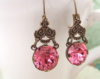 VINTAGE SPARKLE, Vintage Swarovski hot pink jewel earrings in antique brass
