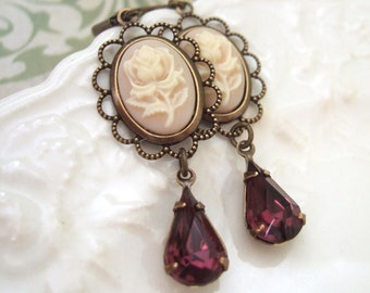 IVORY resin single stem rose cab earrings with vintage amethyst glass jewels