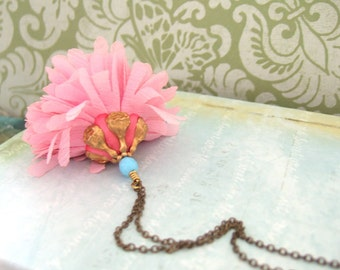 DANDELION antique brass fabric flower necklace with vintage brass floral bead cap and beads