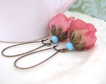 DUSTY ROSES antiqued brass silk flower earrings with vintage blue glass beads