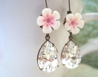 SAKURA, pink resin cherry blossom flower cabs and vintage Swarovski crystal pear shaped jewels