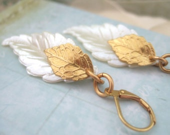 IVORY, vintage lucite pearly white leaf charm with golden brass leaf charm earrings