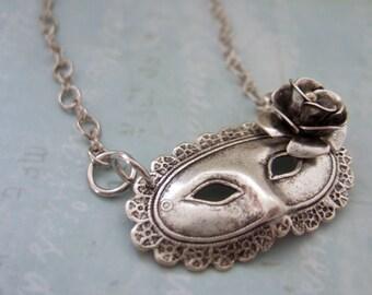 silver mask necklace - MASQUERADE BALL - antique silver Victorian theater mask necklace with 3D silver  flower
