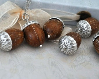 Find under the Oak Tree, antique silver acorn necklace with natural tree seed beads