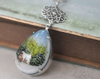SNOW GLOBE vintage style hand painted forest and snow resin pear shaped necklace in antique silver