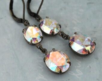 bridesmaid gift earrings - SILVER AURORA - Swarovski ab effect crystal earrings in antiqued brass