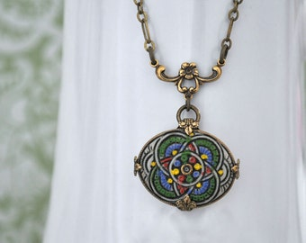 COSMIC, Vintage hand painted glass cab necklace in antique brass