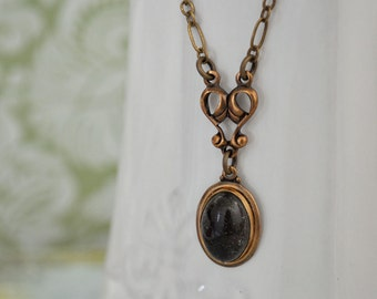 What is your Mood today, antique brass vintage mood stone necklace