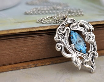CALLA LILY,  antique silver necklace with vintage light blue Swarovski glass jewel