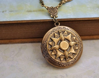 compass locket. antique brass compass. pointing North. GUIDANCE. antique brass sundial compass locket, compass necklace, true north. sundial