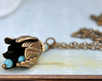 RING The BELL FLOWER, antique brass flower bud necklace with turquoise beads