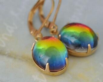 RAINBOW vintage Swarovski glass cab earrings